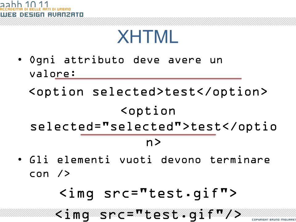 XHTML Ogni attributo deve avere un valore: test Gli elementi vuoti devono terminare con /> Per identificare un elemento si deve usare l'attributo id e