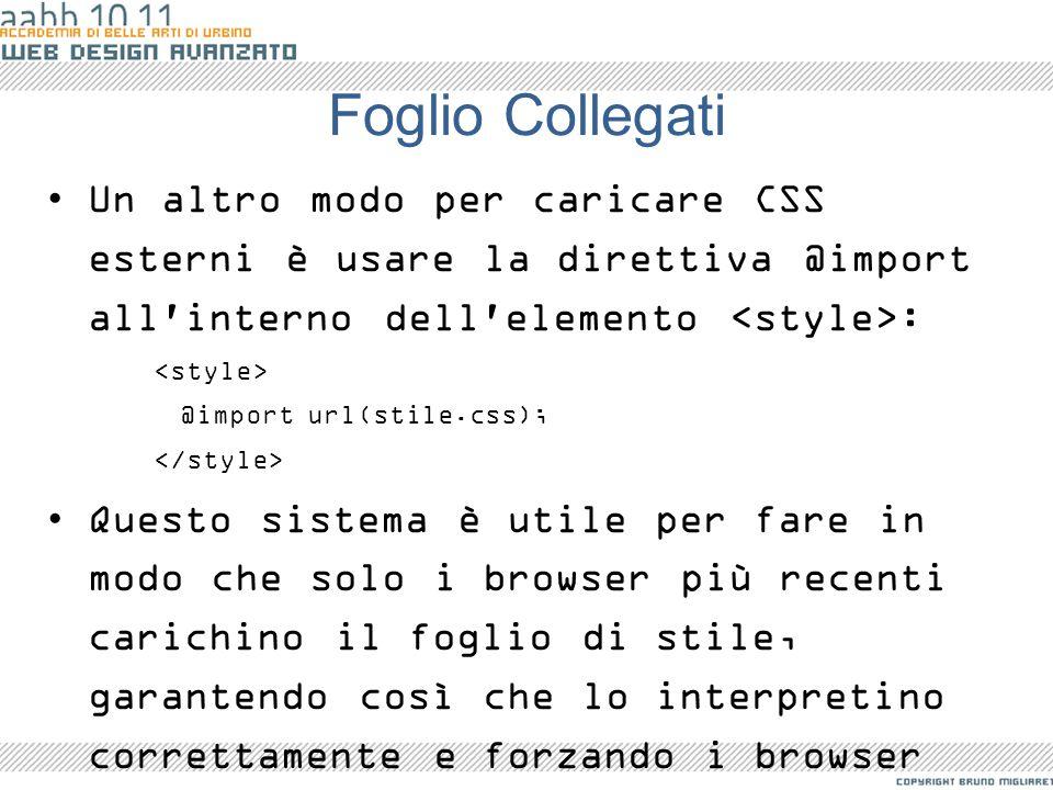 Foglio Collegati Un altro modo per caricare CSS esterni è usare la direttiva @import all'interno dell'elemento : @import url(stile.css); Questo sistem