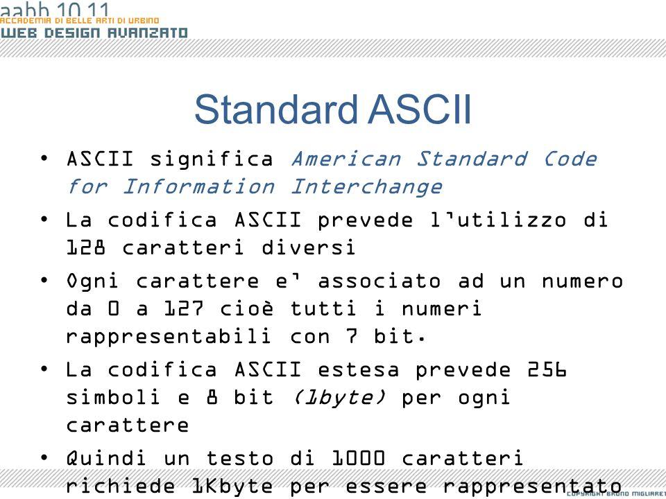 Standard ASCII ASCII significa American Standard Code for Information Interchange La codifica ASCII prevede lutilizzo di 128 caratteri diversi Ogni ca