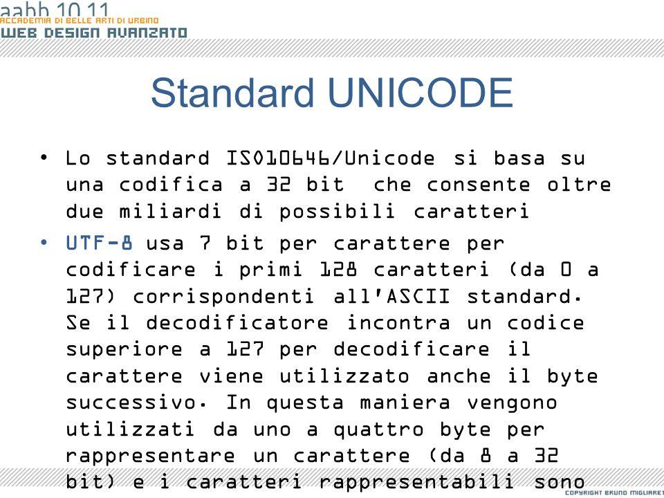 Standard UNICODE Lo standard ISO10646/Unicode si basa su una codifica a 32 bit che consente oltre due miliardi di possibili caratteri UTF-8 usa 7 bit