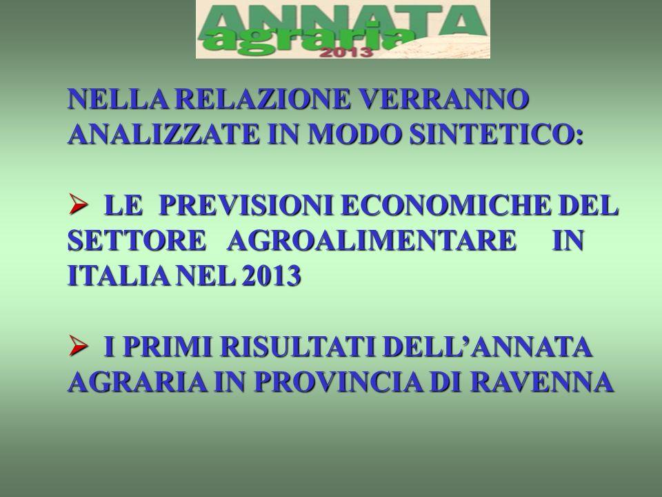 NELLA RELAZIONE VERRANNO ANALIZZATE IN MODO SINTETICO: LE PREVISIONI ECONOMICHE DEL SETTORE AGROALIMENTARE IN ITALIA NEL 2013 LE PREVISIONI ECONOMICHE DEL SETTORE AGROALIMENTARE IN ITALIA NEL 2013 I PRIMI RISULTATI DELLANNATA AGRARIA IN PROVINCIA DI RAVENNA I PRIMI RISULTATI DELLANNATA AGRARIA IN PROVINCIA DI RAVENNA
