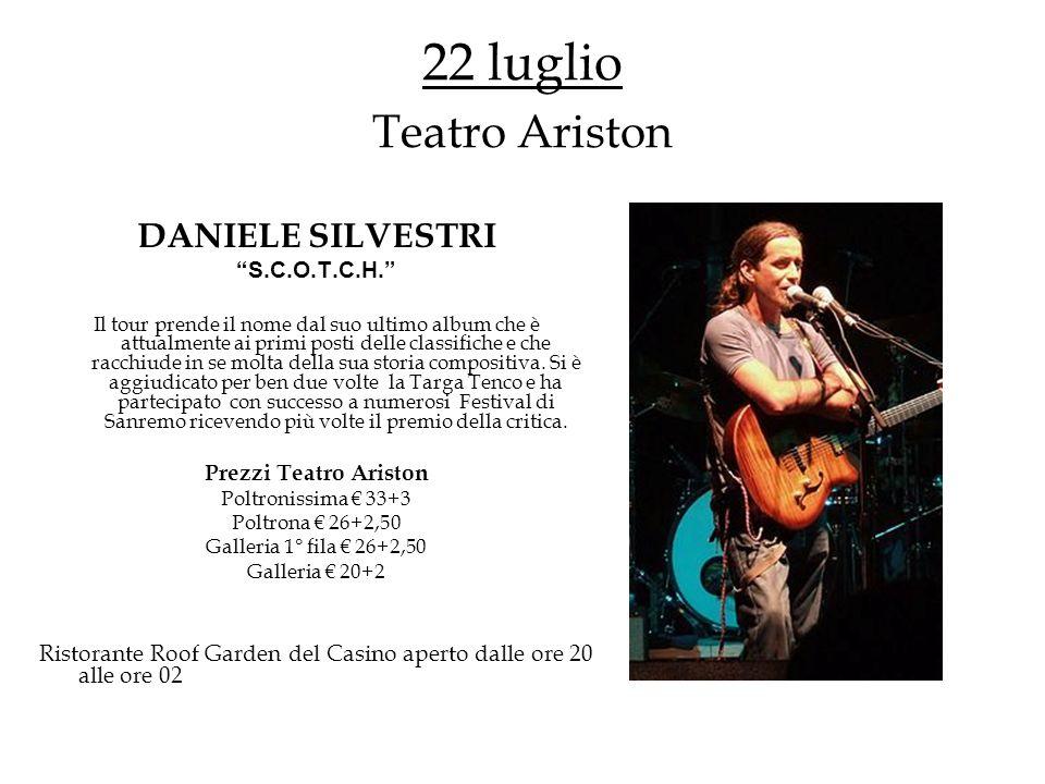 1-31 agosto Roof Garden Quartetto LA BOHEME Dopo il grande successo riscosso la scorsa estate, Dante Averame ripropone al pubblico del Casino il suo gruppo