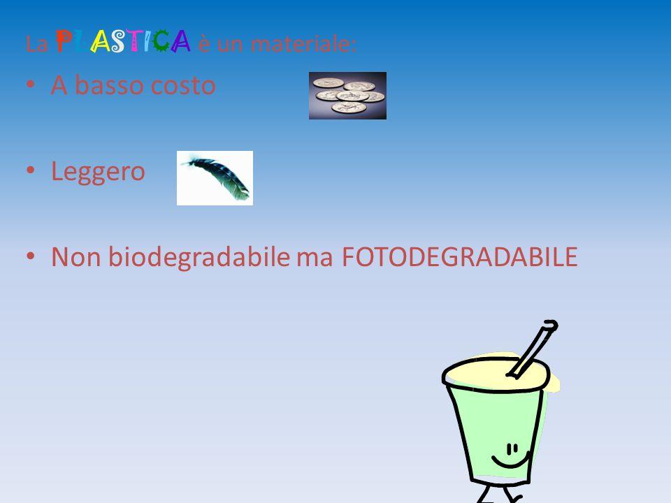 La PLASTICA è un materiale: A basso costo Leggero Non biodegradabile ma FOTODEGRADABILE