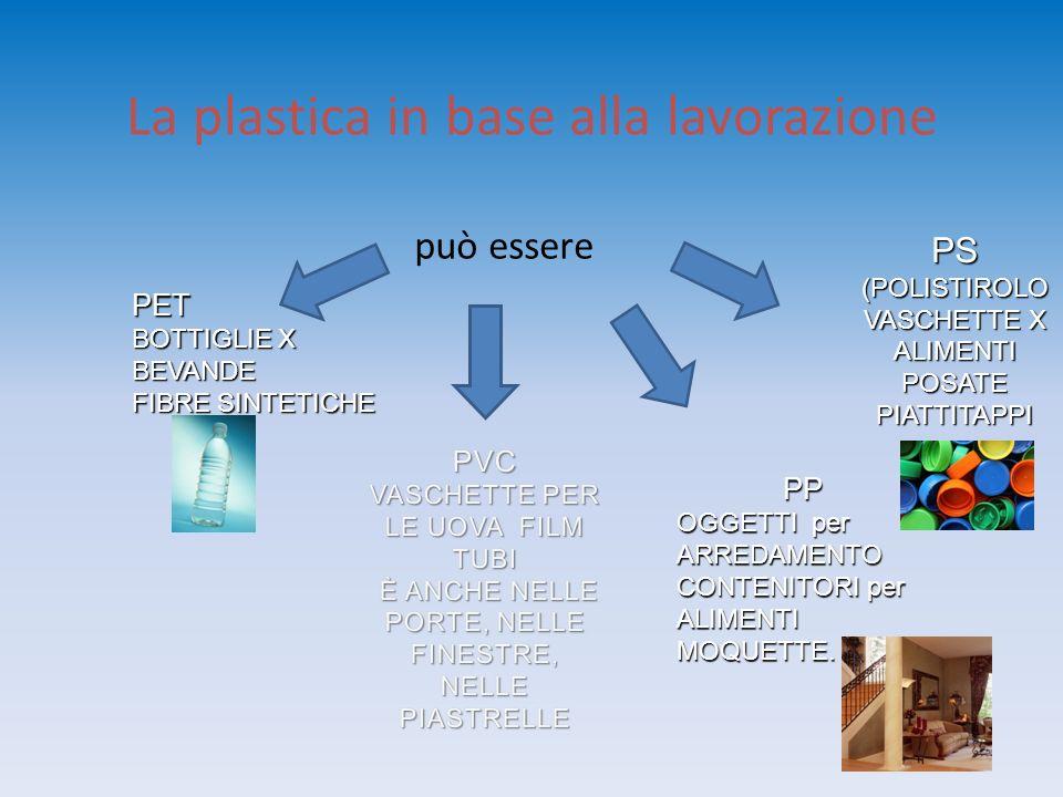 La plastica in base alla lavorazione può essere PS (POLISTIROLO VASCHETTE X ALIMENTI POSATE PIATTITAPPI PET BOTTIGLIE X BEVANDE FIBRE SINTETICHE PP OG