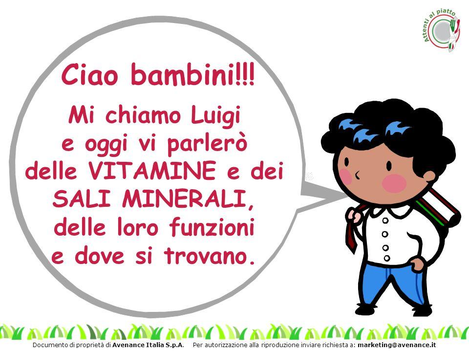 Documento di proprietà di Avenance Italia S.p.A. Per autorizzazione alla riproduzione inviare richiesta a: marketing@avenance.it Ciao bambini!!! Mi ch