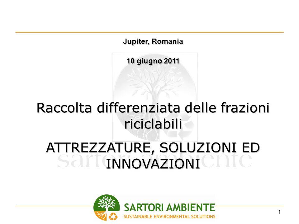2 SARTORI AMBIENTE – La storia 1996 Introduzione sul mercato italiano delle prime attrezzature per il compostaggio domestico 2002 Realizzazione di contenitori di piccole dimensioni per la raccolta differenziata porta a porta.