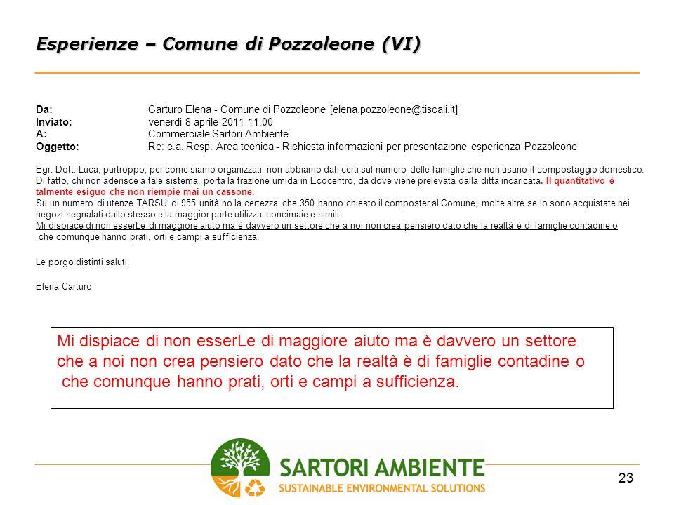 23 Esperienze – Comune di Pozzoleone (VI) Da:Carturo Elena - Comune di Pozzoleone [elena.pozzoleone@tiscali.it] Inviato:venerdì 8 aprile 2011 11.00 A: