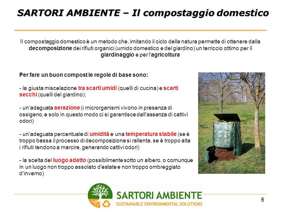 6 SARTORI AMBIENTE – Il compostaggio domestico Il compostaggio domestico è un metodo che, imitando il ciclo della natura permette di ottenere dalla de