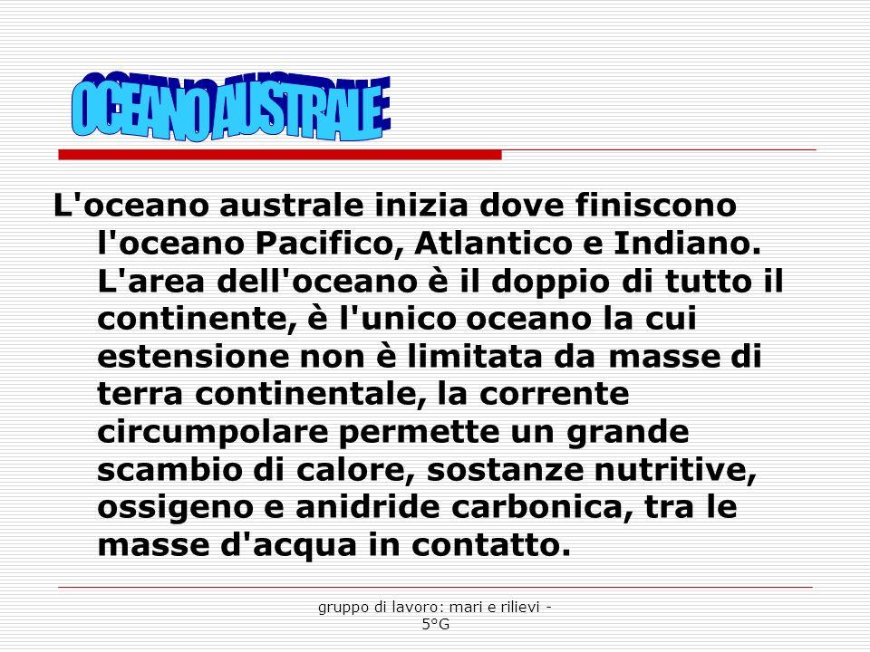 L oceano australe inizia dove finiscono l oceano Pacifico, Atlantico e Indiano.