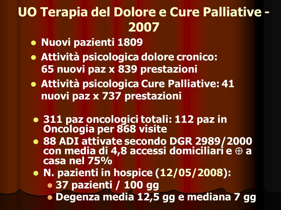 UO Terapia del Dolore e Cure Palliative - 2007 311 paz oncologici totali: 112 paz in Oncologia per 868 visite 88 ADI attivate secondo DGR 2989/2000 co