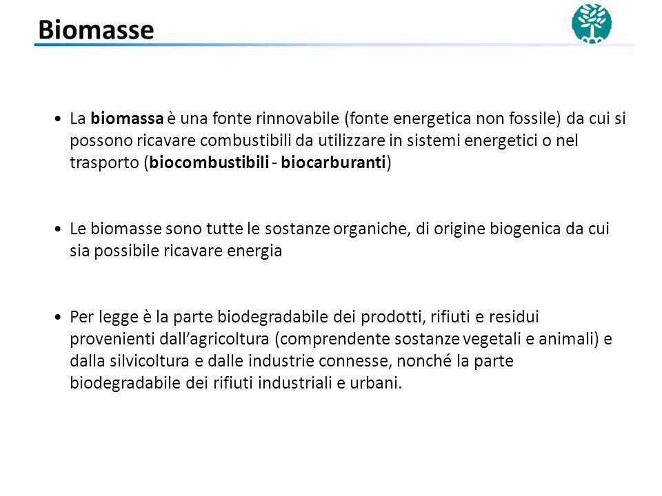 La biomassa è una fonte rinnovabile (fonte energetica non fossile) da cui si possono ricavare combustibili da utilizzare in sistemi energetici o nel t