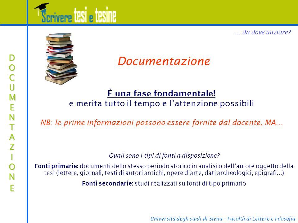 Università degli studi di Siena – Facoltà di Lettere e Filosofia Cosa cercare?...