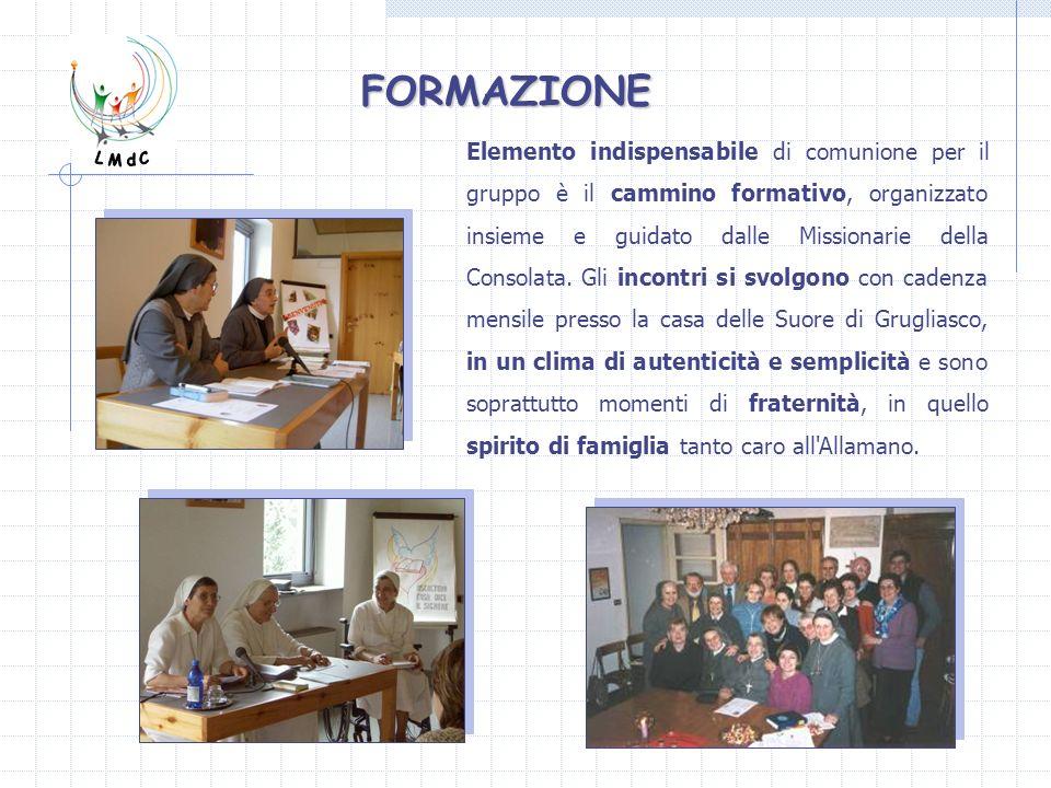Elemento indispensabile di comunione per il gruppo è il cammino formativo, organizzato insieme e guidato dalle Missionarie della Consolata. Gli incont