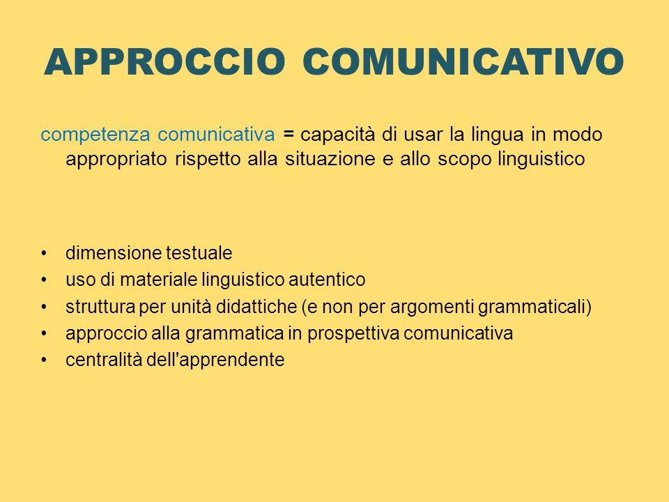 APPROCCIO COMUNICATIVO competenza comunicativa = capacità di usar la lingua in modo appropriato rispetto alla situazione e allo scopo linguistico dime