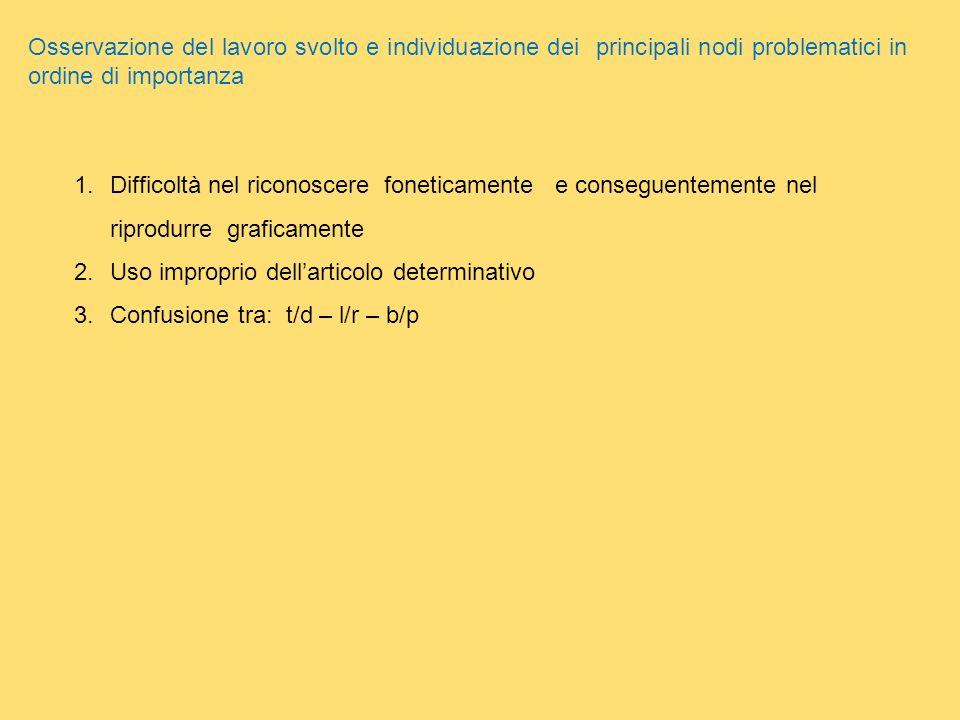 Osservazione del lavoro svolto e individuazione dei principali nodi problematici in ordine di importanza 1.Difficoltà nel riconoscere foneticamente e