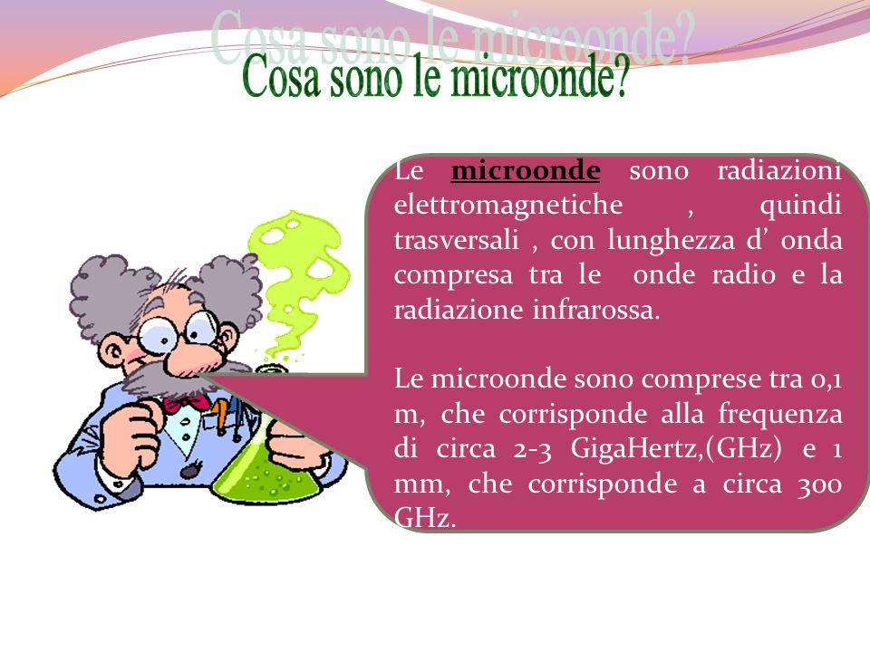 Le microonde sono radiazioni elettromagnetiche, quindi trasversali, con lunghezza d onda compresa tra le onde radio e la radiazione infrarossa. Le mic