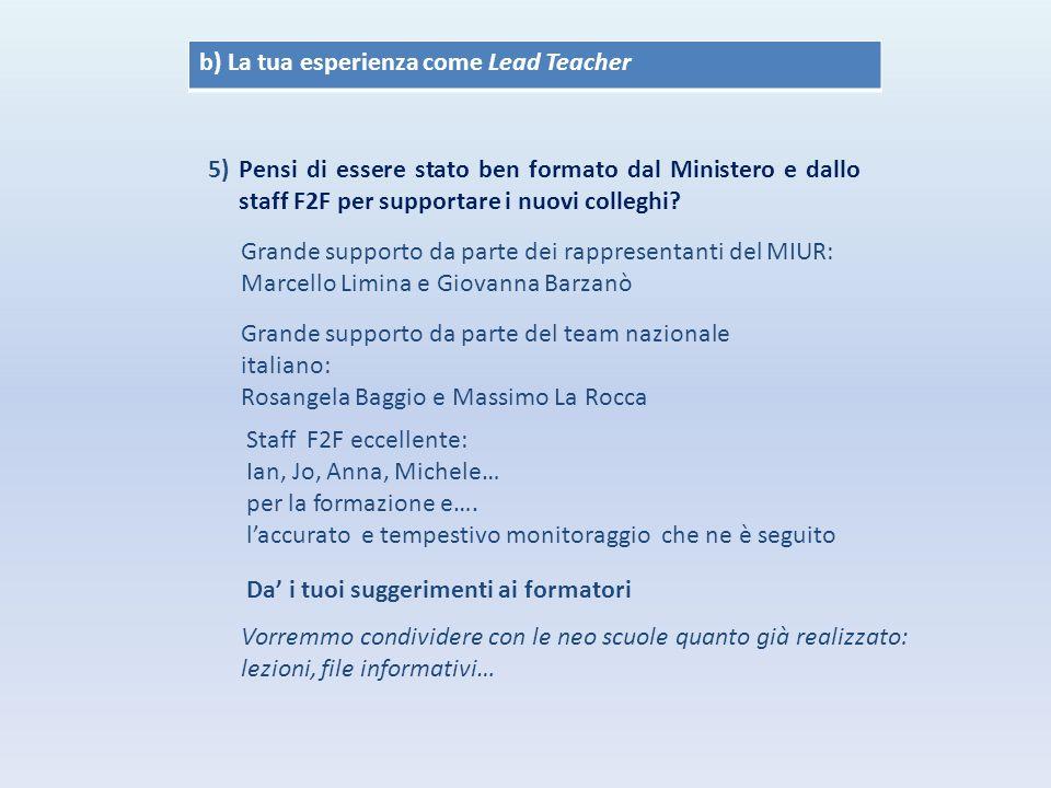 b) La tua esperienza come Lead Teacher 5) Pensi di essere stato ben formato dal Ministero e dallo staff F2F per supportare i nuovi colleghi.