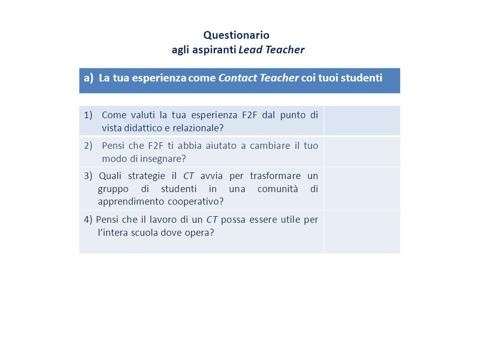 Questionario agli aspiranti Lead Teacher 1)Come valuti la tua esperienza F2F dal punto di vista didattico e relazionale? 2)Pensi che F2F ti abbia aiut