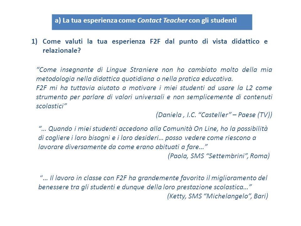 a) La tua esperienza come Contact Teacher con gli studenti 1)Come valuti la tua esperienza F2F dal punto di vista didattico e relazionale.