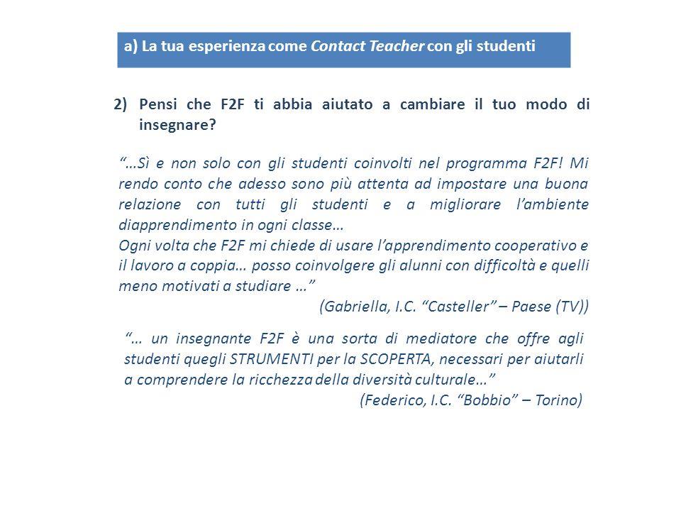 a) La tua esperienza come Contact Teacher con gli studenti 2)Pensi che F2F ti abbia aiutato a cambiare il tuo modo di insegnare? …Sì e non solo con gl