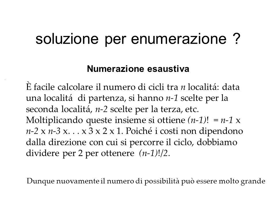 soluzione per enumerazione ? È facile calcolare il numero di cicli tra n localitá: data una localitá di partenza, si hanno n-1 scelte per la seconda l