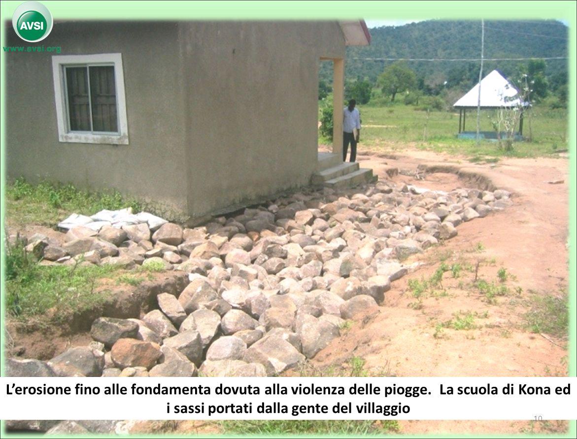 Lerosione fino alle fondamenta dovuta alla violenza delle piogge. La scuola di Kona ed i sassi portati dalla gente del villaggio 10