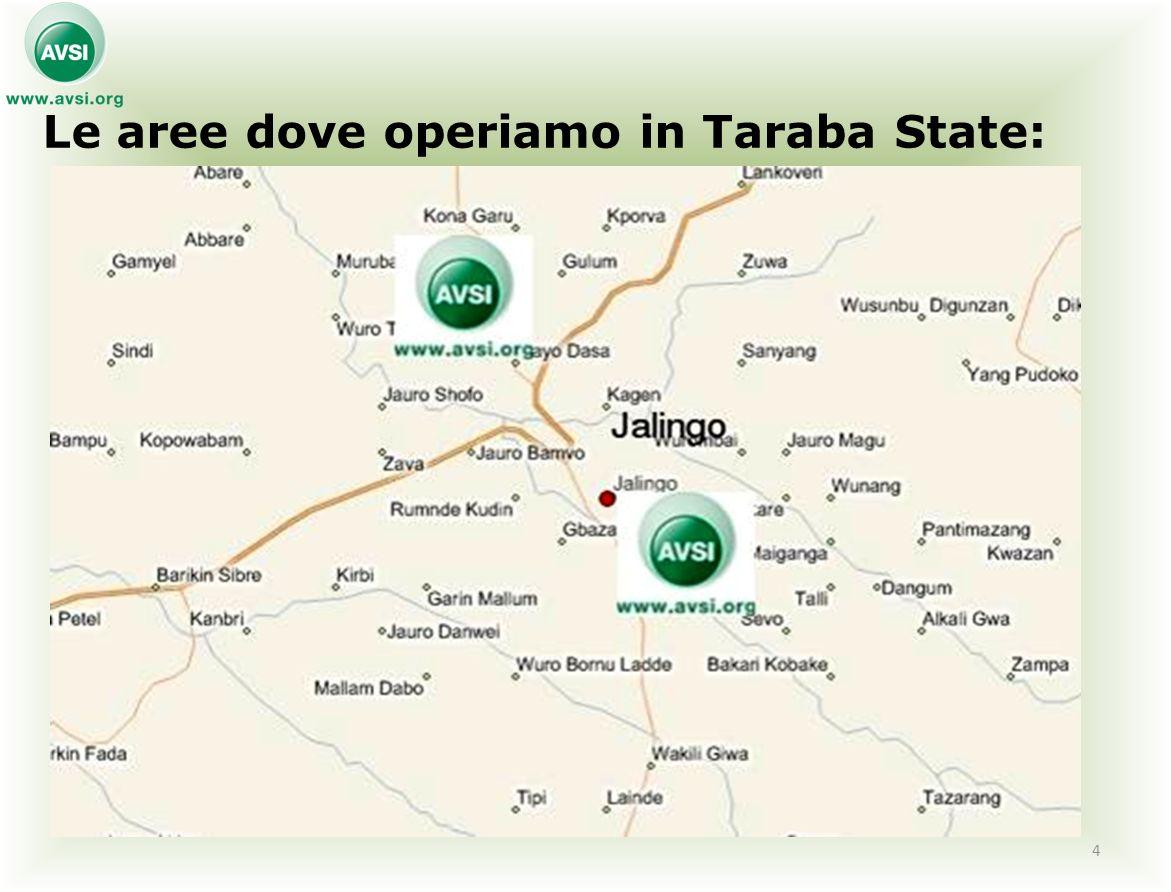 Le aree dove operiamo in Taraba State: 4