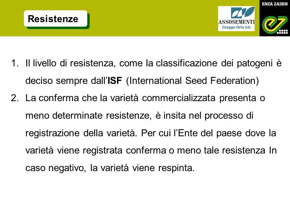 1.Il livello di resistenza, come la classificazione dei patogeni è deciso sempre dallISF (International Seed Federation) 2.La conferma che la varietà commercializzata presenta o meno determinate resistenze, è insita nel processo di registrazione della varietà.
