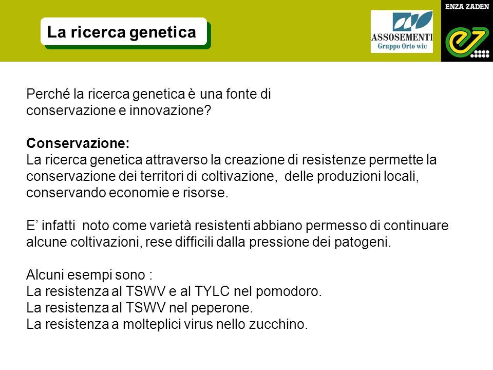 La ricerca genetica Perché la ricerca genetica è una fonte di conservazione e innovazione? Conservazione: La ricerca genetica attraverso la creazione