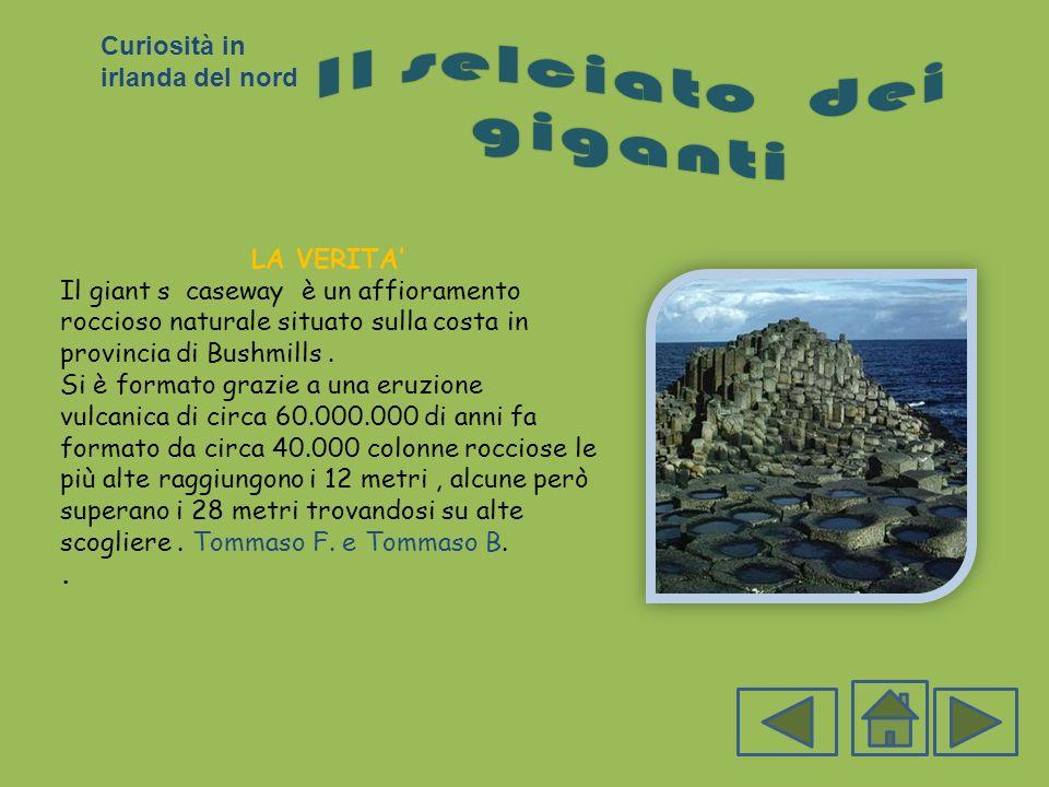 LA VERITA Il giant s caseway è un affioramento roccioso naturale situato sulla costa in provincia di Bushmills. Si è formato grazie a una eruzione vul