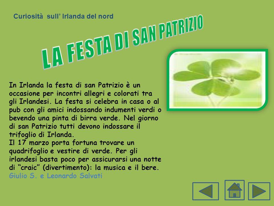 In Irlanda la festa di san Patrizio è un occasione per incontri allegri e colorati tra gli Irlandesi. La festa si celebra in casa o al pub con gli ami