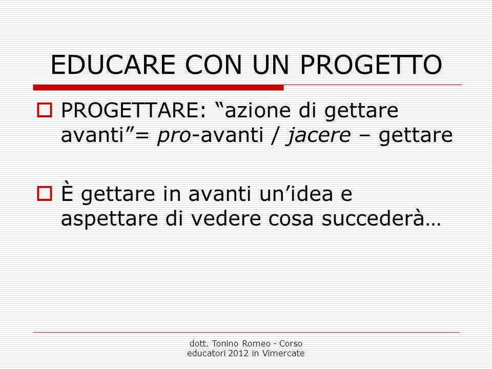 EDUCARE CON UN PROGETTO PROGETTARE: azione di gettare avanti= pro-avanti / jacere – gettare È gettare in avanti unidea e aspettare di vedere cosa succederà… dott.