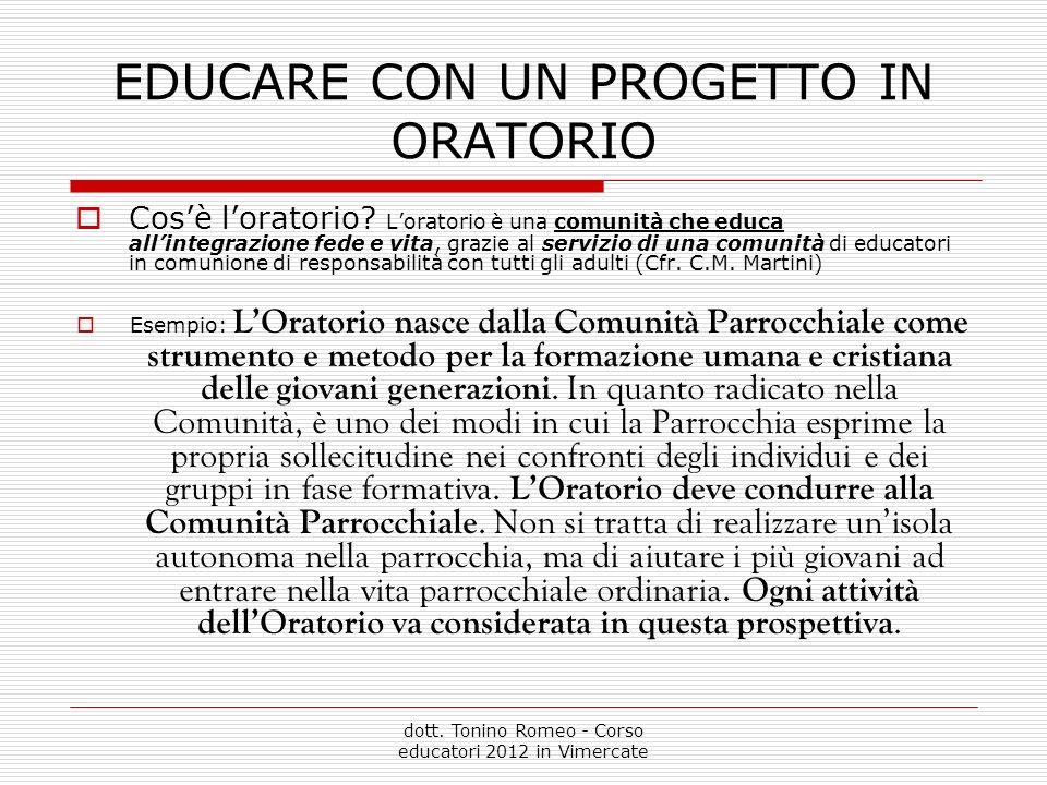 EDUCARE CON UN PROGETTO IN ORATORIO Cosè loratorio.