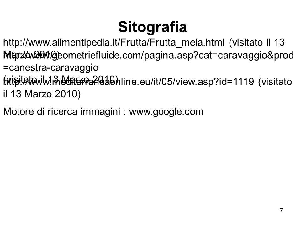 http://www.alimentipedia.it/Frutta/Frutta_mela.html (visitato il 13 Marzo 2010) Sitografia http://www.geometriefluide.com/pagina.asp?cat=caravaggio&pr