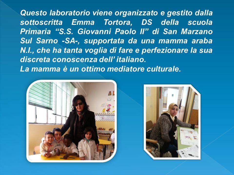 Questo laboratorio viene organizzato e gestito dalla sottoscritta Emma Tortora, DS della scuola Primaria S.S. Giovanni Paolo II di San Marzano Sul Sar