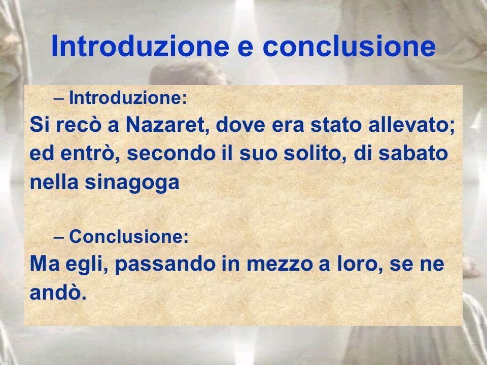 Introduzione e conclusione –Introduzione: Si recò a Nazaret, dove era stato allevato; ed entrò, secondo il suo solito, di sabato nella sinagoga –Concl