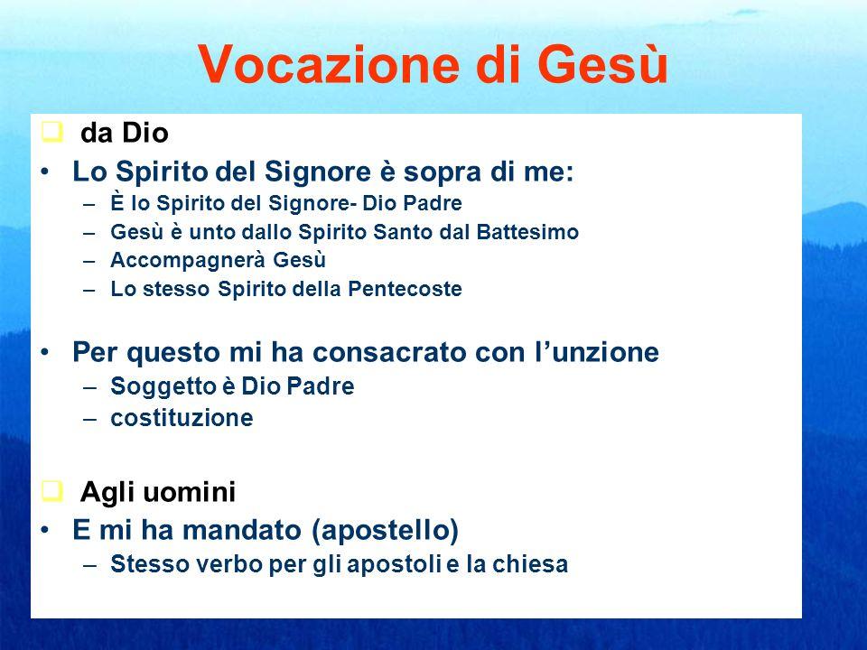 Vocazione di Gesù da Dio Lo Spirito del Signore è sopra di me: –È–È lo Spirito del Signore- Dio Padre –G–Gesù è unto dallo Spirito Santo dal Battesimo
