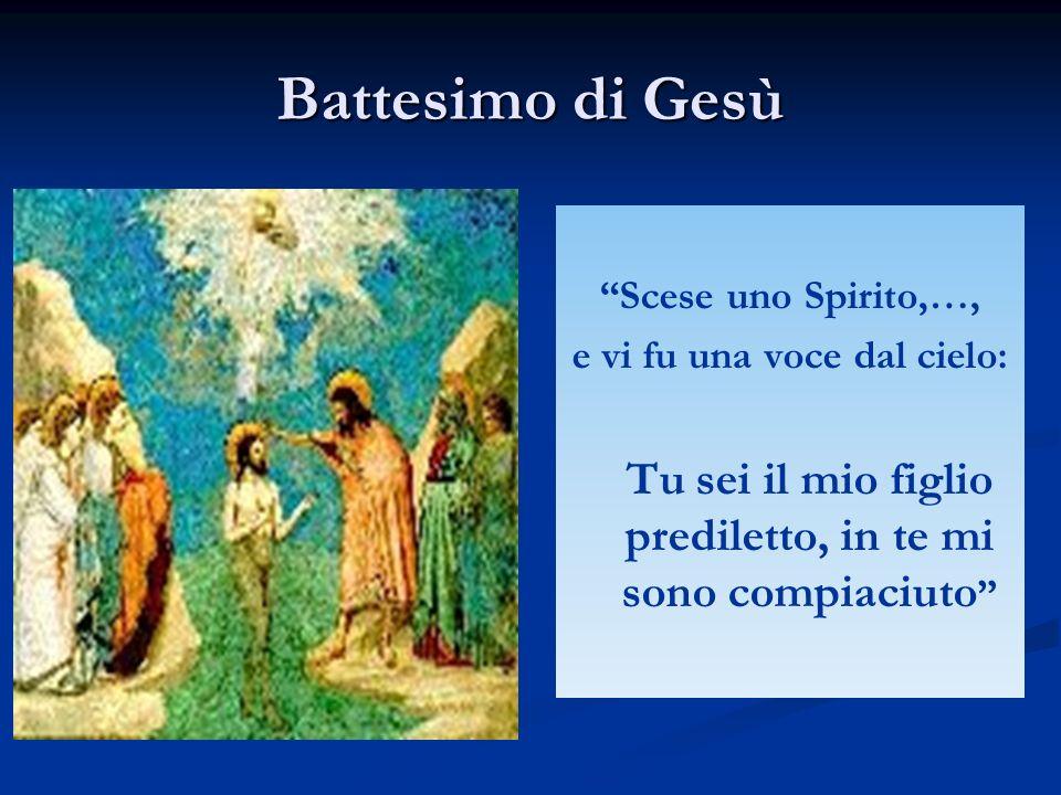 Battesimo di Gesù Scese uno Spirito,…, e vi fu una voce dal cielo: Tu sei il mio figlio prediletto, in te mi sono compiaciuto