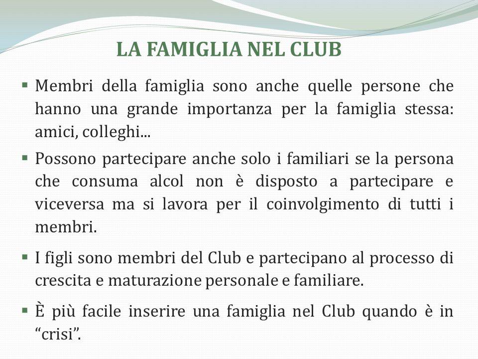 LA FAMIGLIA NEL CLUB A tutti i membri della famiglia si propone la scelta dellastinenza, leliminazione dellalcol (e delle altre sostanze psicoattive) da casa.