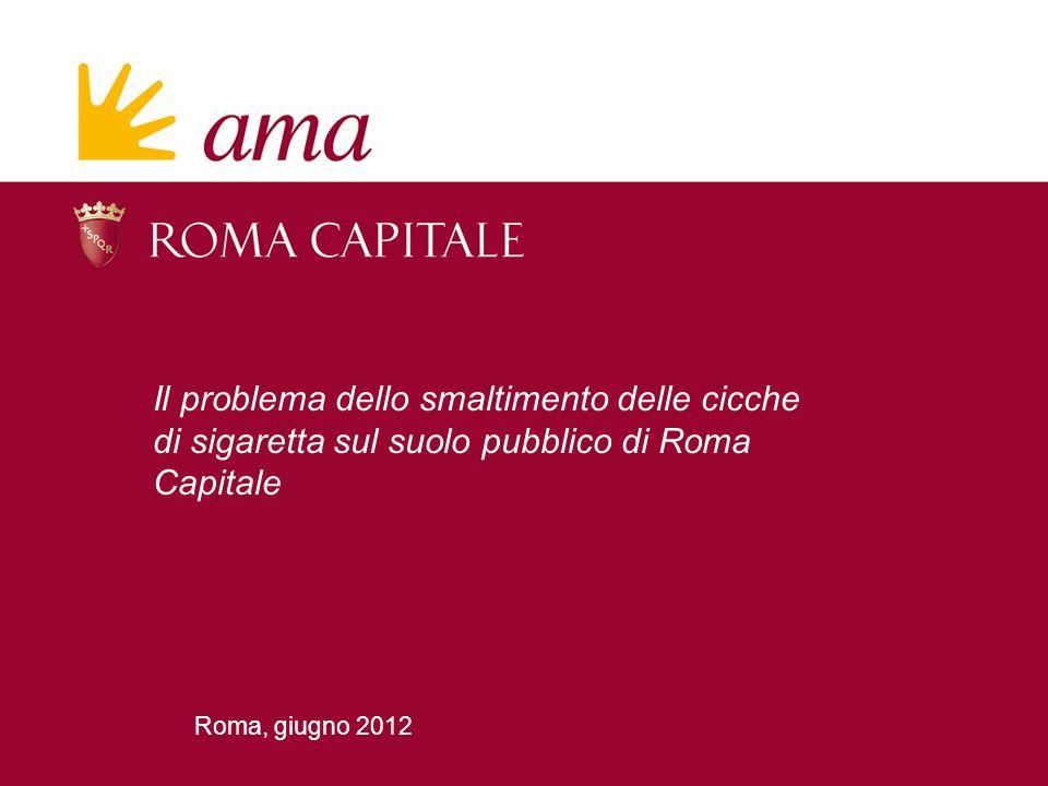 Roma, giugno 2012 Il problema dello smaltimento delle cicche di sigaretta sul suolo pubblico di Roma Capitale