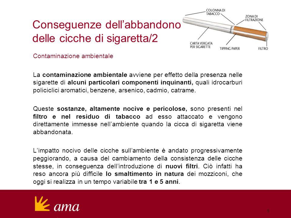 Contaminazione ambientale La contaminazione ambientale avviene per effetto della presenza nelle sigarette di alcuni particolari componenti inquinanti, quali idrocarburi policiclici aromatici, benzene, arsenico, cadmio, catrame.