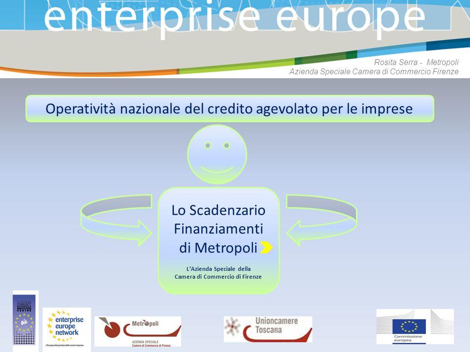 Rosita Serra - Metropoli Azienda Speciale Camera di Commercio Firenze Operatività nazionale del credito agevolato per le imprese Lo Scadenzario Finanz