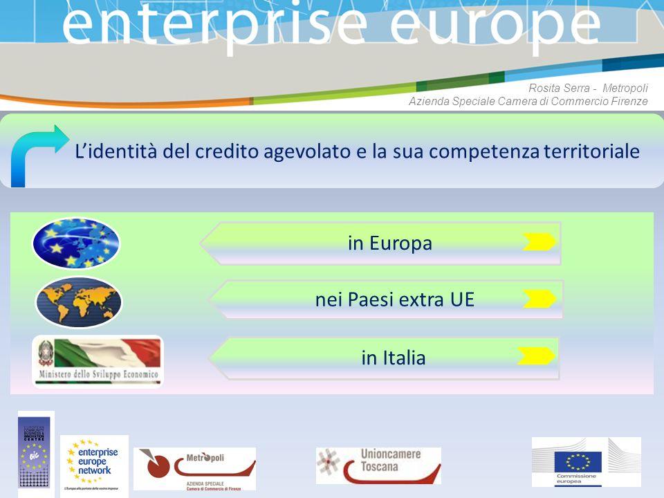 Lidentità del credito agevolato e la sua competenza territoriale in Europa nei Paesi extra UE in Italia Rosita Serra - Metropoli Azienda Speciale Came