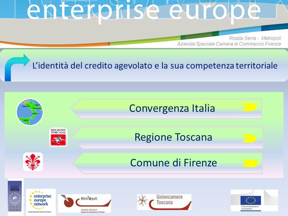 Lidentità del credito agevolato e la sua competenza territoriale Convergenza Italia Regione Toscana Comune di Firenze Rosita Serra - Metropoli Azienda
