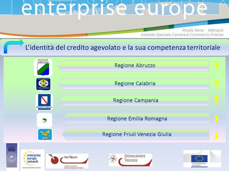 Lidentità del credito agevolato e la sua competenza territoriale Regione Abruzzo Regione Calabria Regione Campania Regione Emilia Romagna Regione Friu