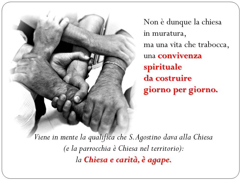 Non è dunque la chiesa in muratura, ma una vita che trabocca, una c cc convivenza spirituale da costruire giorno per giorno. Chiesa e carità, è agape.