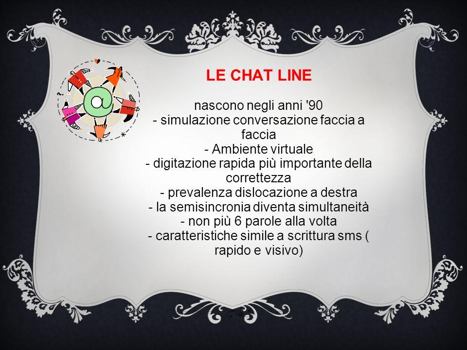 LE CHAT LINE nascono negli anni '90 - simulazione conversazione faccia a faccia - Ambiente virtuale - digitazione rapida più importante della corrette