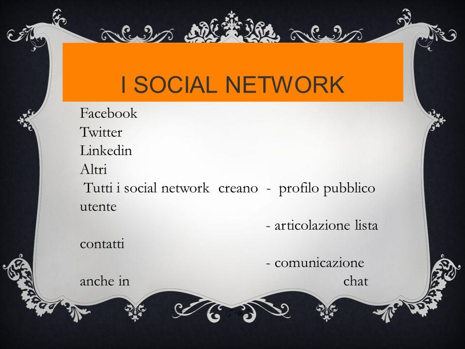 I SOCIAL NETWORK Facebook Twitter Linkedin Altri Tutti i social network creano - profilo pubblico utente - articolazione lista contatti - comunicazion