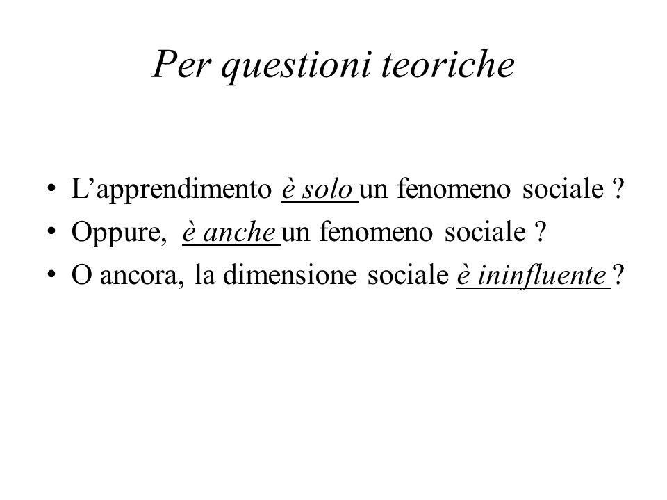 Per questioni teoriche Lapprendimento è solo un fenomeno sociale ? Oppure, è anche un fenomeno sociale ? O ancora, la dimensione sociale è ininfluente
