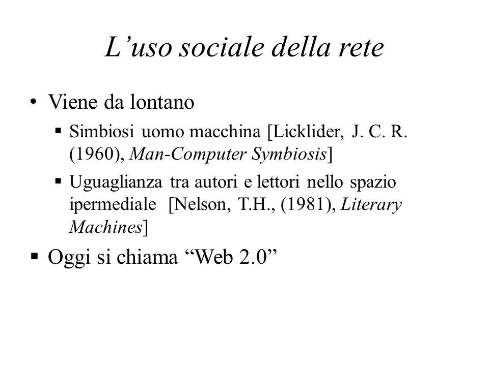 Luso sociale della rete Viene da lontano Simbiosi uomo macchina [Licklider, J. C. R. (1960), Man-Computer Symbiosis] Uguaglianza tra autori e lettori